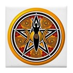 Gold-Red Goddess Pentacle Tile Coaster