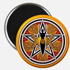 "Gold-Red Goddess Pentacle 2.25"" Magnet (10 pack)"