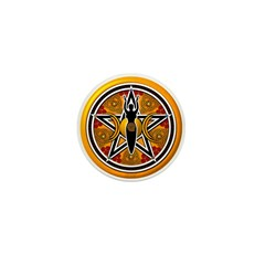 Gold-Red Goddess Pentacle Mini Button (10 pack)