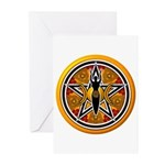 Gold-Red Goddess Pentacle Greeting Cards (Pk of 10
