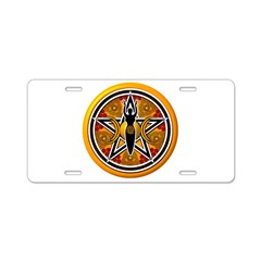 Gold-Red Goddess Pentacle Aluminum License Plate