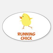 Running Chick Sticker (Oval)