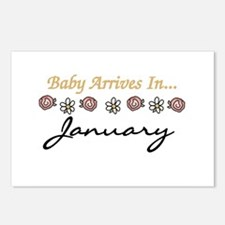 Baby Arrives in January Postcards (Package of 8)