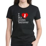 I Love My Golden Retriever Women's Dark T-Shirt