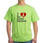I Love My Golden Retriever Green T-Shirt