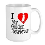 I Love My Golden Retriever Large Mug