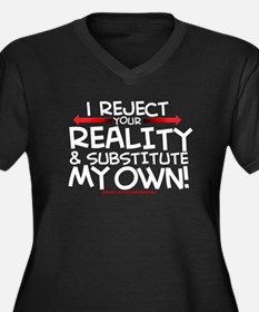 Reality Women's Plus Size V-Neck Dark T-Shirt