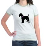 Fox Terrier Breast Cancer Sup Jr. Ringer T-Shirt