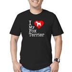 I Love My Fox Terrier Men's Fitted T-Shirt (dark)