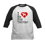 I Love My Fox Terrier Kids Baseball Jersey
