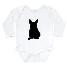 French Bulldog Silhouette Long Sleeve Infant Bodys