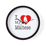 I Love My Maltese Wall Clock