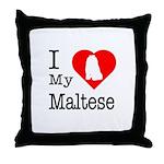 I Love My Maltese Throw Pillow