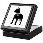 Pitbull Terrier Breast Cancer Keepsake Box