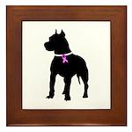 Pitbull Terrier Breast Cancer Framed Tile