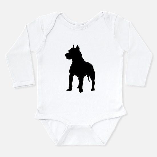 Pitbull Silhouette Long Sleeve Infant Bodysuit
