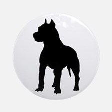 Pitbull Silhouette Ornament (Round)