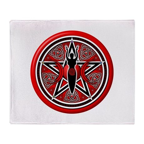 Red-Silver Goddess Pentacle Throw Blanket