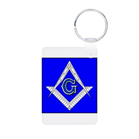Fancy Square and Compass Aluminum Photo Keychain