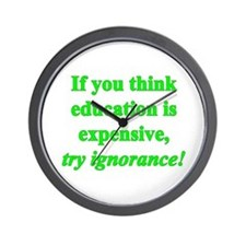 Education quote (green) Wall Clock