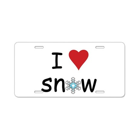 I Love Snow Aluminum License Plate