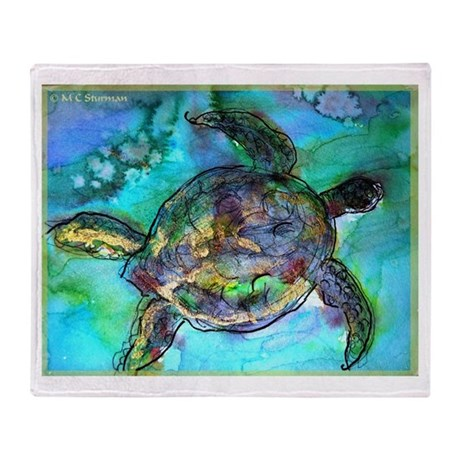 Sea Turtle, colorful, Throw Blanket