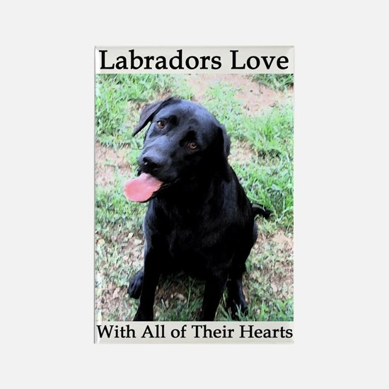 Labradors Love Rectangle Magnet