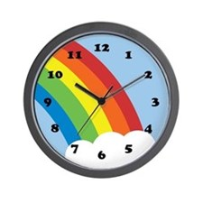 80's Retro Rainbow Wall Clock