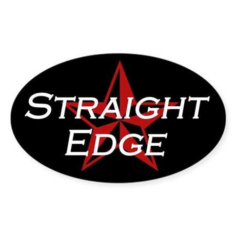 Straight Edge Oval Sticker