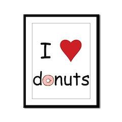 I Love Donuts Framed Panel Print