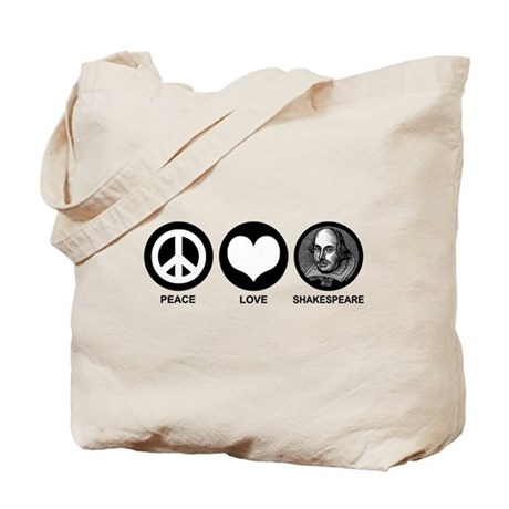 Peace Love Shakespeare Tote Bag