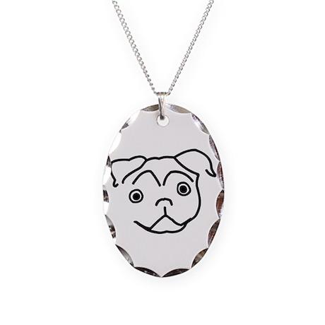 Pug Line Necklace Oval Charm