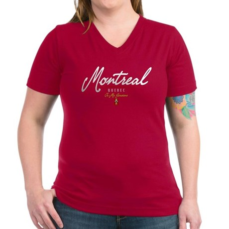 Montreal Script Women's V-Neck Dark T-Shirt