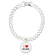 I Love[heart] Sober People Bracelet