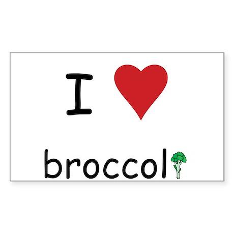 I Love Broccoli Sticker (Rectangle)