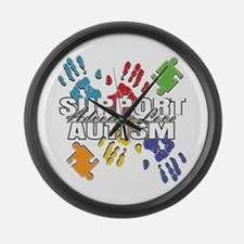 Support Autism Handprints Large Wall Clock