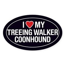 Love My Treeing Walker Coonhound OvalSticker/Decal