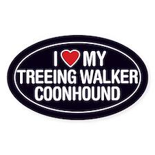 Love My Treeing Walker Coonhound OvalSticker/Decal