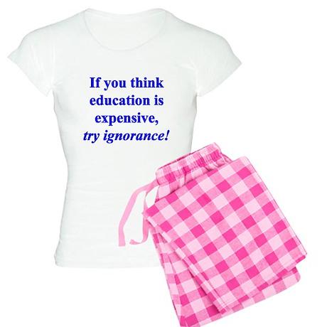 Education quote (blue) Women's Light Pajamas