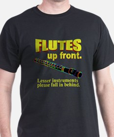Flutes Up Front Black T-Shirt