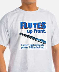 Flutes Up Front Ash Grey T-Shirt