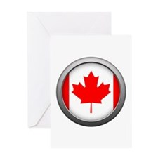 Round Flag - Canada Greeting Card