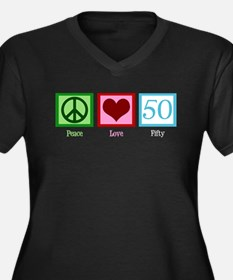 Peace Love 50 Women's Plus Size V-Neck Dark T-Shir