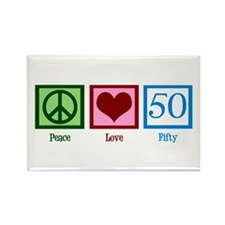Peace Love 50 Rectangle Magnet