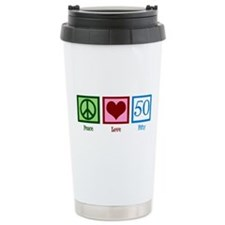 Peace Love 50 Travel Coffee Mug