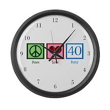 Peace Love 40 Large Wall Clock