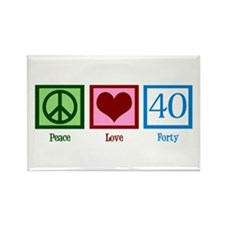 Peace Love 40 Rectangle Magnet