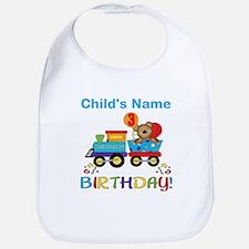 birthday bear train custom Bib