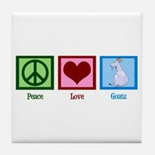 Peace Love Goats Tile Coaster