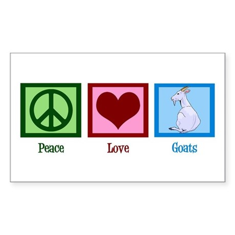 Peace Love Goats Sticker (Rectangle)
